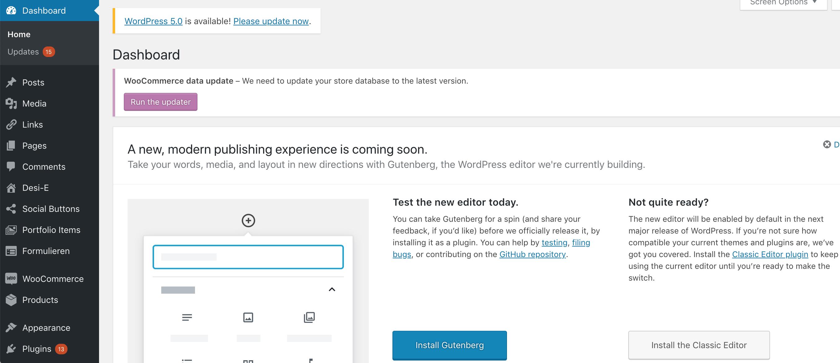 WordPress Gutenberg updaten